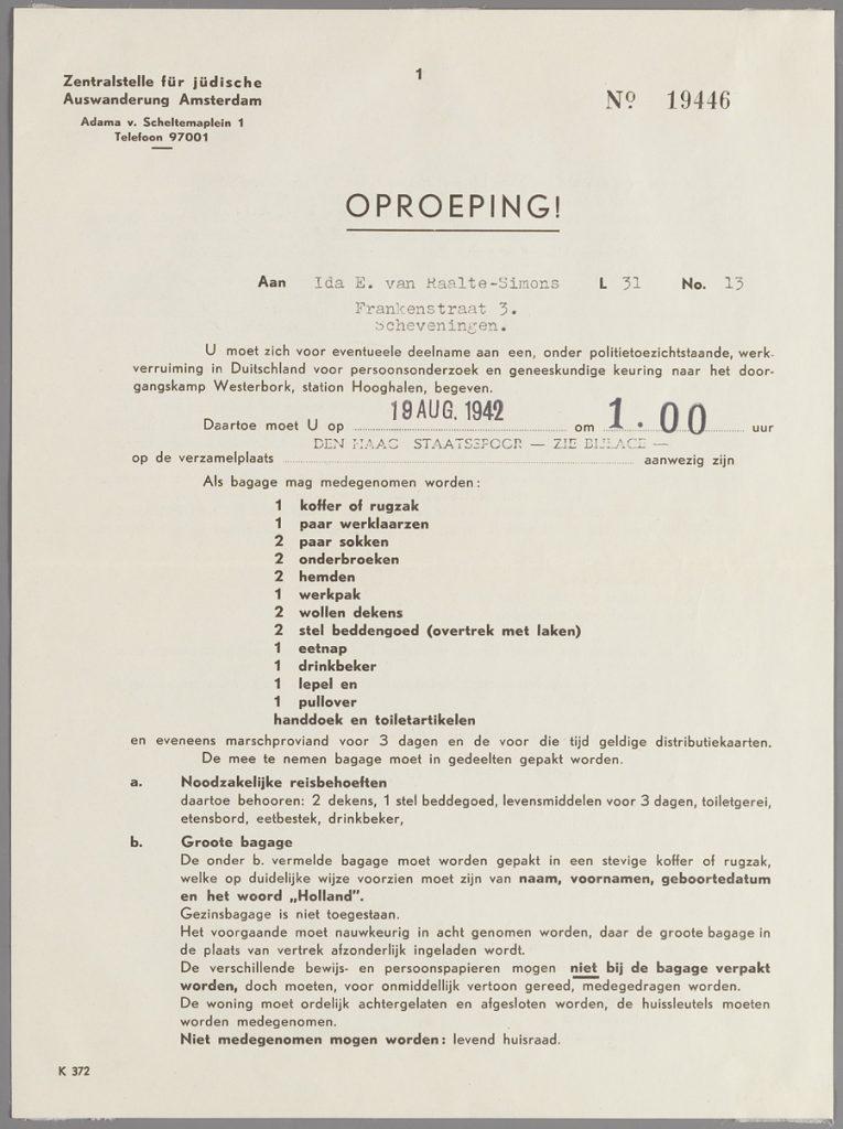 Oproeping mevr. Ida van Raalte-Simons, blad 1. (Collectie Joods Historisch Museum)