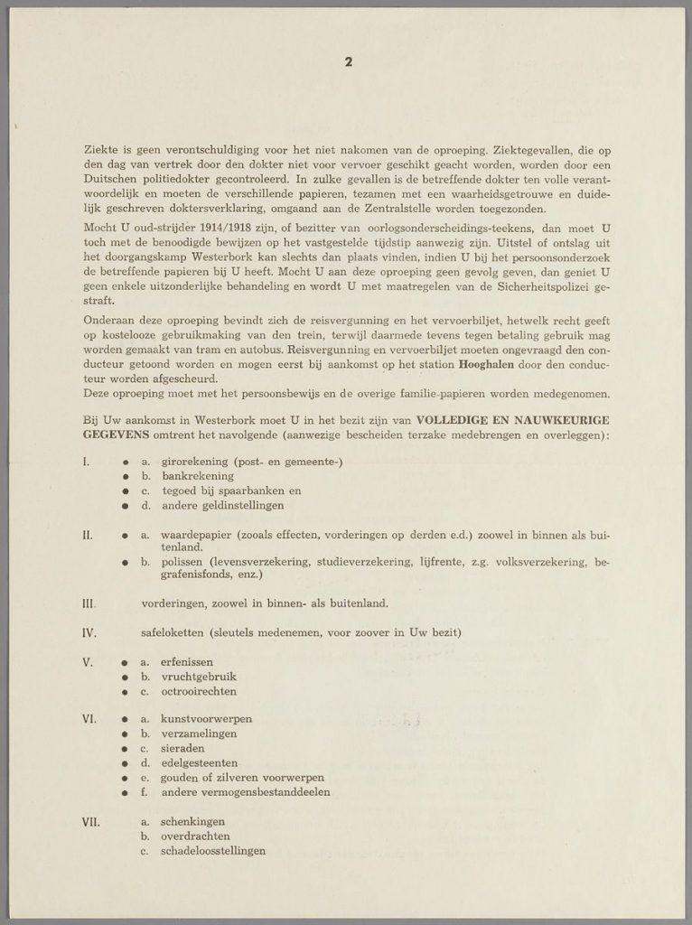 Oproeping mevr. Ida van Raalte-Simons, blad 2. (Collectie Joods Historisch Museum)