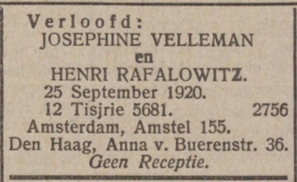 verlovingsadvertentie in Nieuw Israëlitisch Weekblad van 24 september 1920