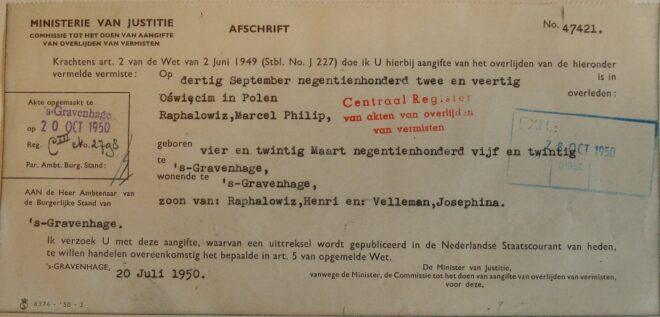 Dossier Marcel Philip Raphalowiz, afschrift aangifte van overlijden