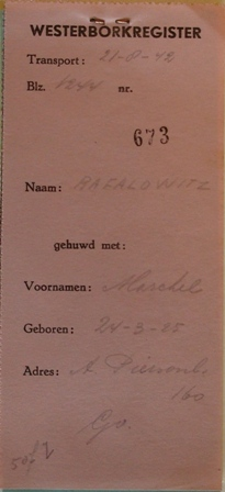 Dossier Marcel Philip Raphalowiz, afschrift Westerborkregister