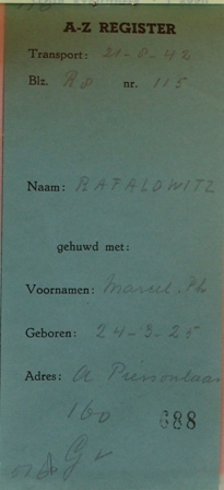 Dossier Marcel Philip Raphalowiz, afschrift A - Z register