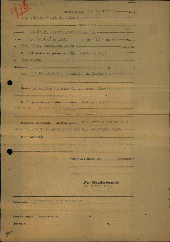 Overlijdensakte Henri Raphalowiz, Auschwitz 23-9-1942