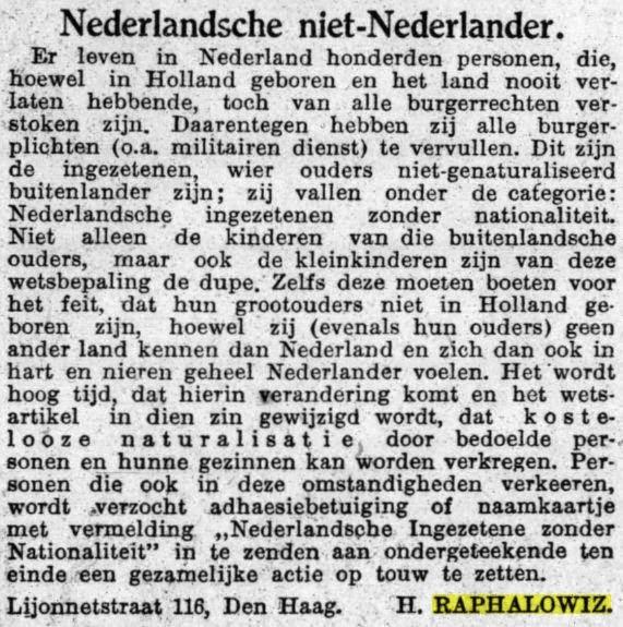 Ingezonden brief in Het Volk, 13 mei 1931