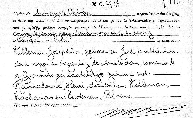 Overlijdensakte Josephina Velleman, 's-Gravenhage 20-10-1950