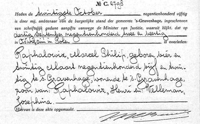 Overlijdensakte Marcel Philip Raphalowiz, 's-Gravenhage 20-10-1950