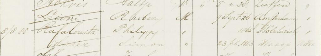 Inschrijving Philipp Rafalowitz in het Bevolkingsregister van Amsterdam, 8-8-1888