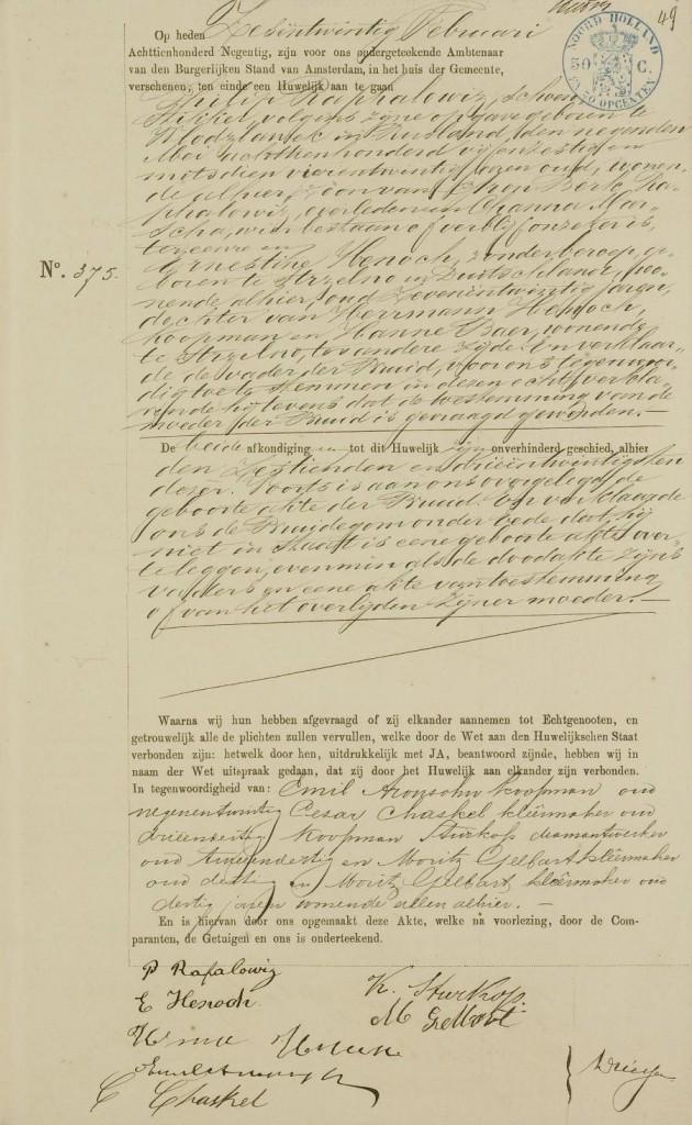 Huwelijksakte Philip Raphalowiz en Ernestina Henoch, Amsterdam 26-2-1890