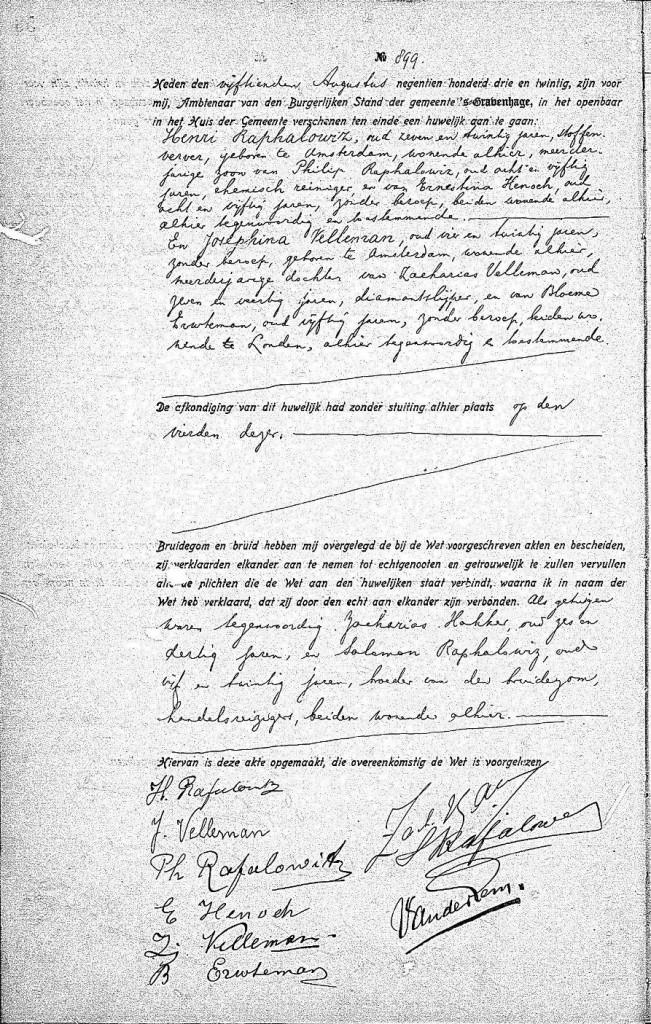 Huwelijksakte Henri Raphalowiz en Josephina Velleman, 's Gravenhage 15-8-1923