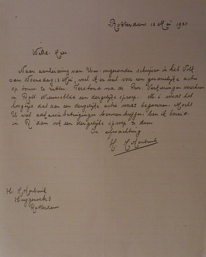 Steunbetuiging naar aanleiding van de ingezonden brief van 13 mei 1931 in Het Volk
