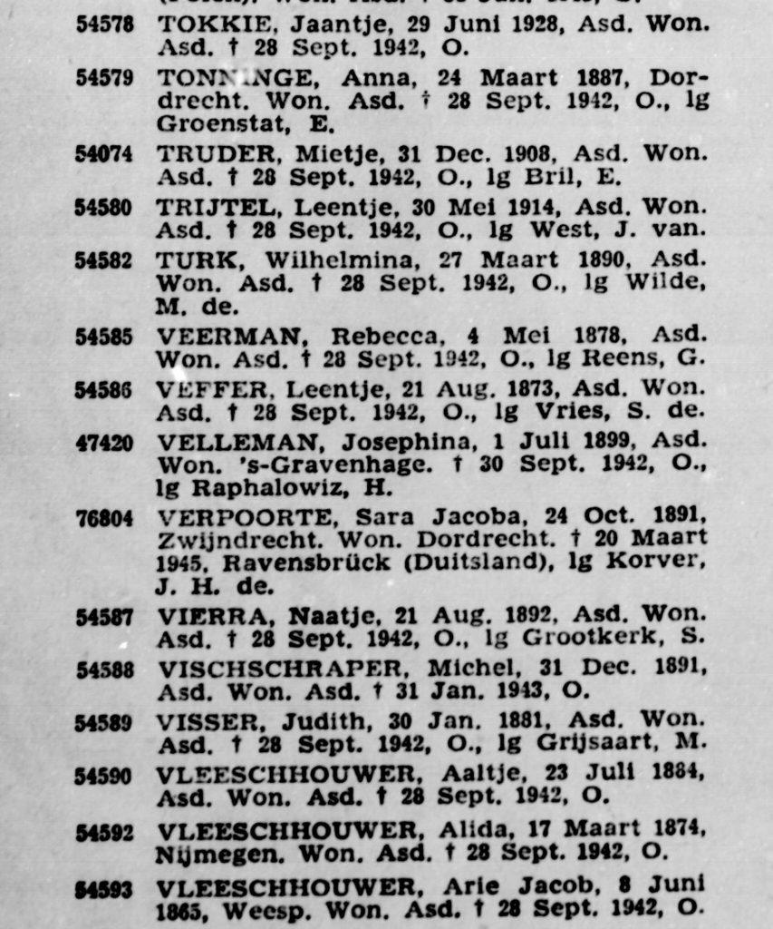 Officiële mededeling over het overlijden van Josephina Velleman, Nederlandse Staatscourant 20-7-1950