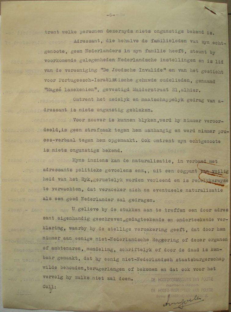 Verklaring namens de Hoofdcommissaris van Politie (6)