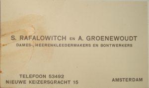 Visitekaartje Sander Rafalowitch.